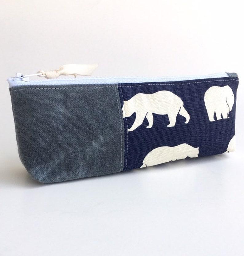 Cotton Canvas Elephant Pencil Case