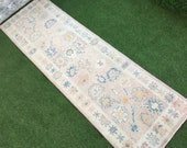 New Turkish Rug,Unique Hand Knotted Top Quality Oushak Runner Rug,One Of A Kind Muted Pink Turkish Runner,Kitchen Rug,Hallway Rug 3 39 x9 39 5 39 39