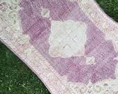 Vintage Turkish Oriental Rug,Rustic Nomadic Wool Low Pile Distressed 4 1 x6 8 Oushak Rug,Foyer Rug,Purple Rug,Nursery Rug