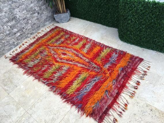 "Vintage Handwoven Turkish Shaggy Tulu Rug,Long Piles Angora Wool Tribal Rug,Boho Chic Shag Flooring Rug 3'10""x6'6""  Oushak Rug,Fireplace Rug"