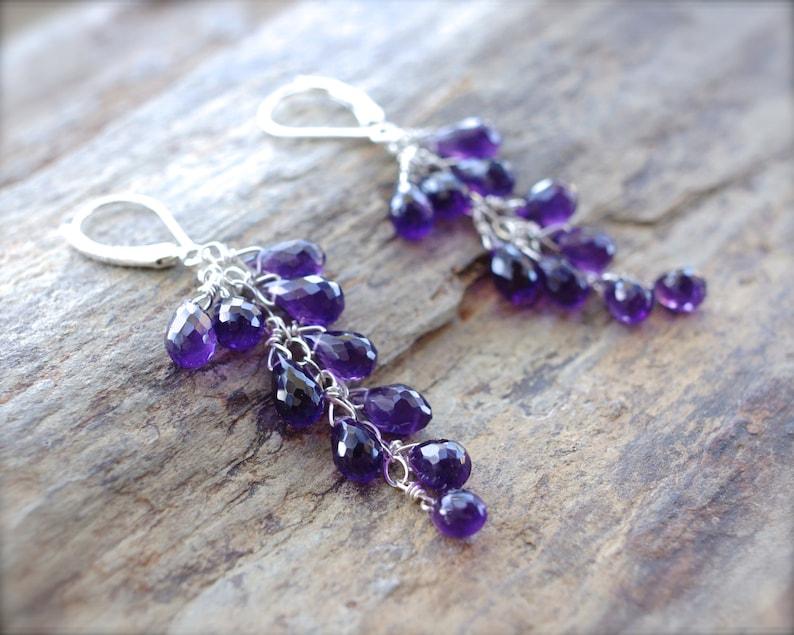 White gold amethyst briolette earrings 14K solid gold  purple faceted amethyst cascade earrings MADE TO ORDER. Amethyst cluster earrings