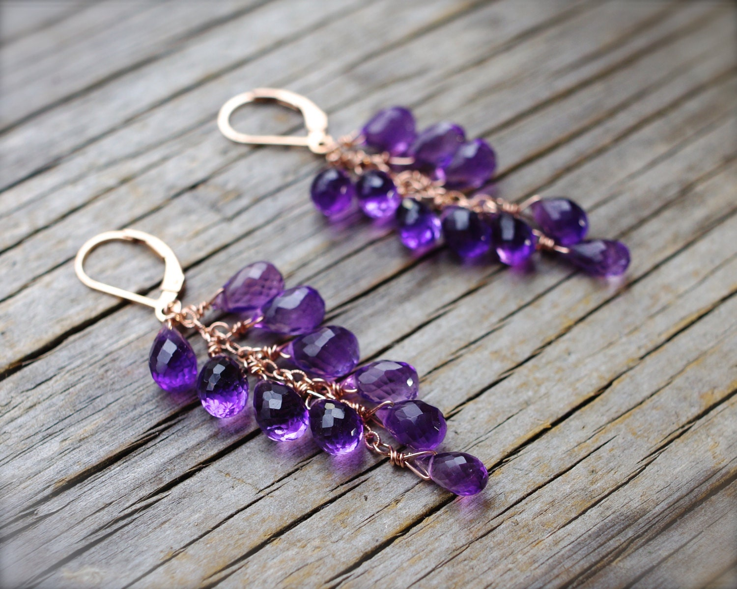 amethyst earrings rose gold amethyst cluster briolette etsy. Black Bedroom Furniture Sets. Home Design Ideas