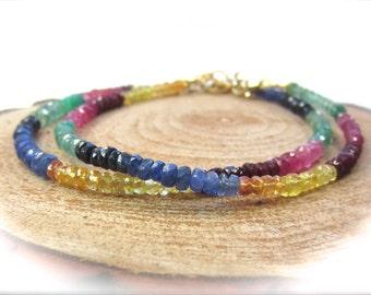 Multicolor sapphire bracelet. Delicate beaded sapphire bracelet. Rainbow - ruby, emerald, blue & yellow sapphire bead bracelet MADE TO ORDER