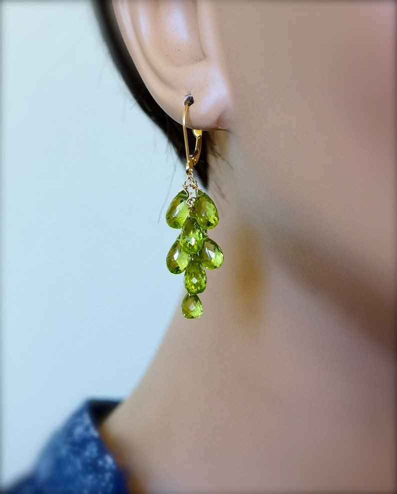 peridot /& apatite briolettes rose amethyst Gemstone Cluster Earrings sterling silver
