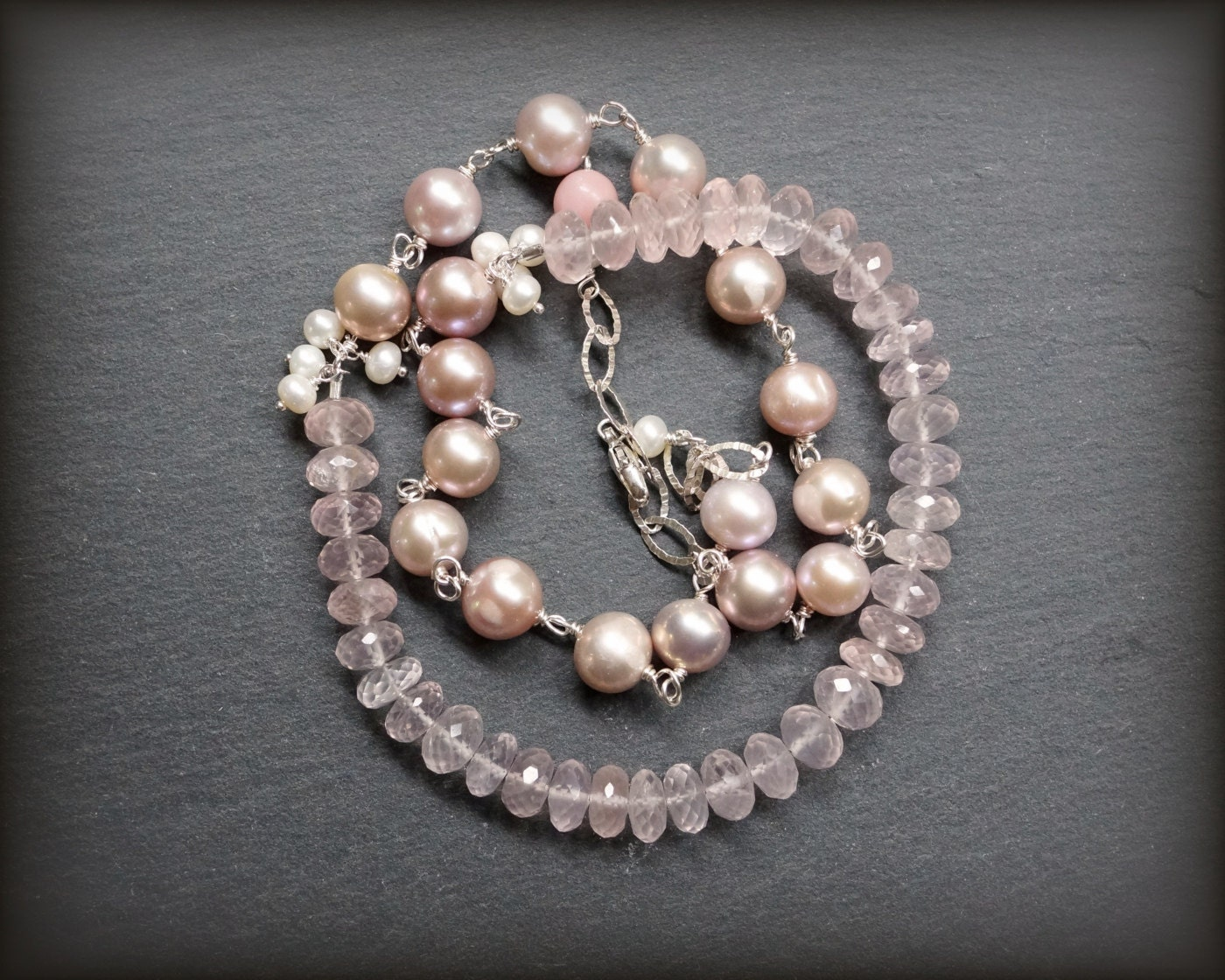 Rose Quartz Necklace With Pink Pearl Sterling Silver Gem