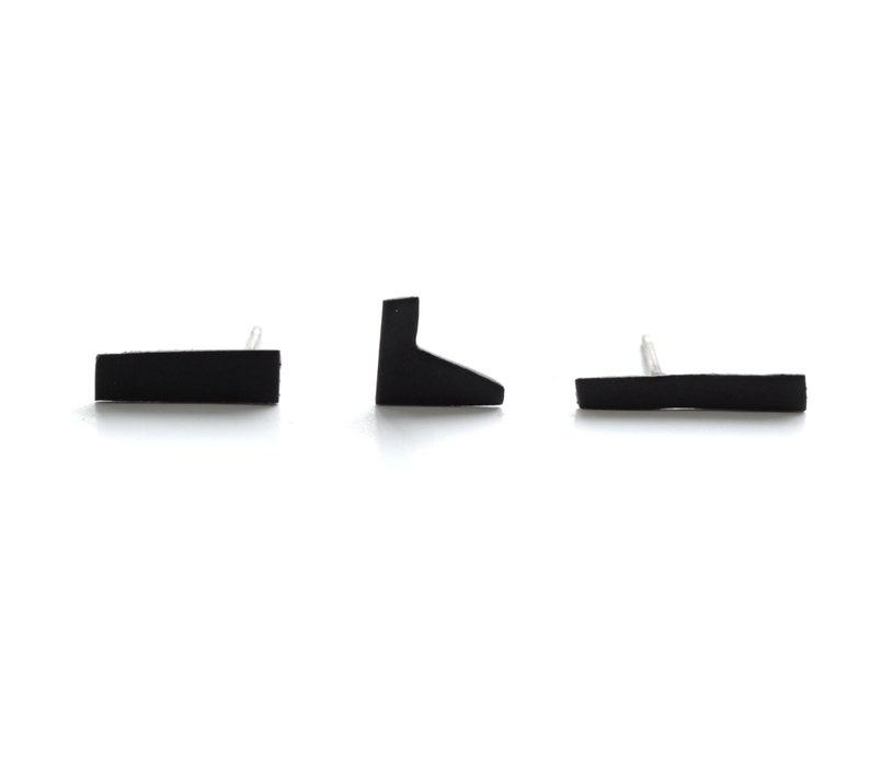 ebc7ffc5b Three piece matte black tiny asymmetric stud earring set