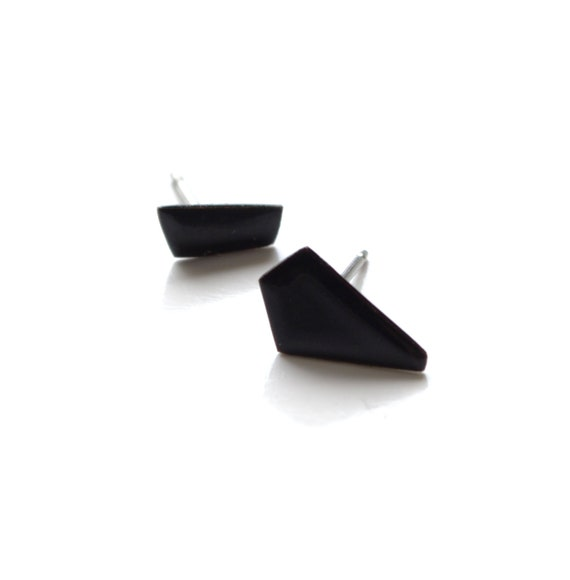 e273ec865408d small and dainty matte black stud earrings, simple asymmetric shard studs,  minimalist style, basic little jewellery, easy for every day wear