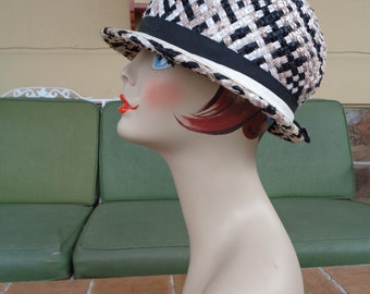 242ebe884a2 vintage women s hat bucket cellophane Mod 1960 s millinery Mr John retro