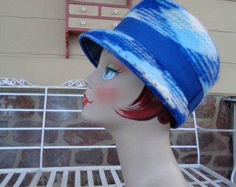 0cc6944d4ff vintage women s bucket hat winter argyle blue angora wool 1960 s MOD  millinery