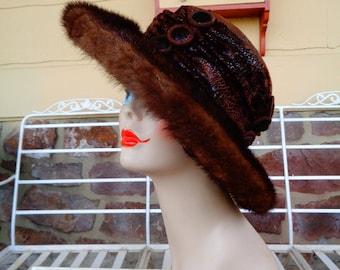 Vintage coat hat 1980s natural fur Winter hat Gift for her