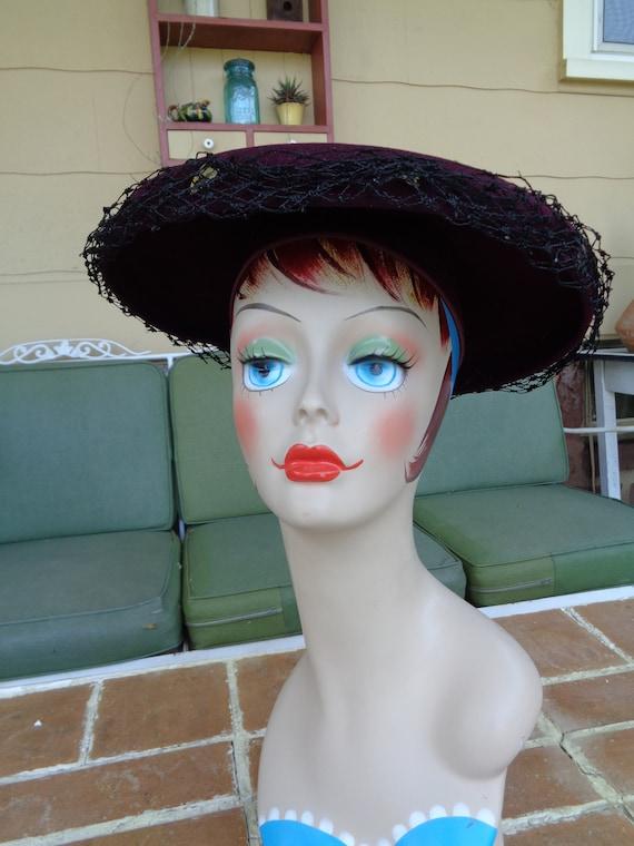 vintage women's hat 1940's wool purple platter fe… - image 3