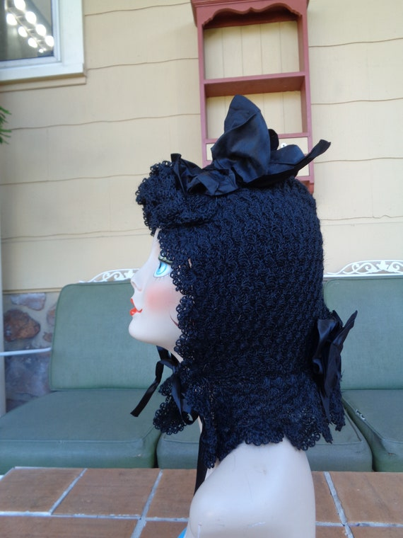 antique women's Mourning bonnet hat Millinery Vict