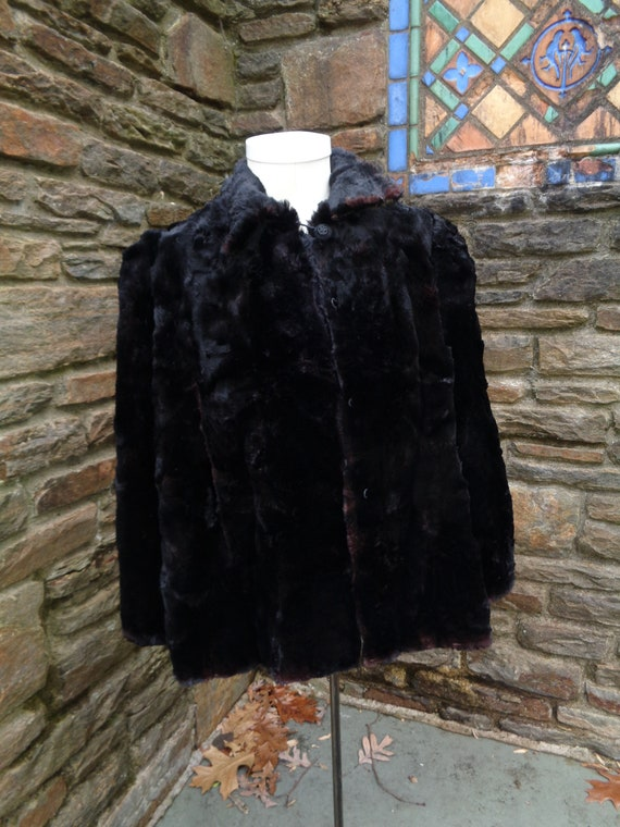 Vintage 40s Black Fur sheared beaver Art Deco  Coat 1940s black real Fur Jacket  Sm