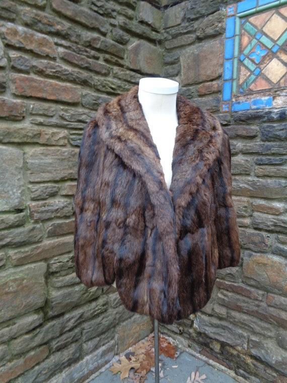 vintage womens genuine fur squirrel capelet cape w