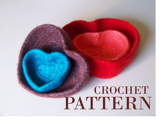 Crocheted Bowl Pattern Instructions For Felted Heart Shaped Etsy