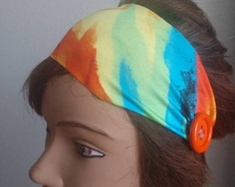 Bright colored headband with buttons