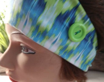 Ocean blue and neon Green headband with buttons