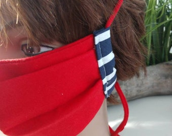 Red /white /blue face mask with interfacing- fabric