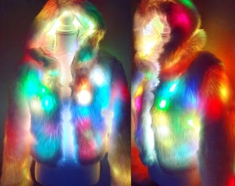 b4bf492dc61 Flashing LED Light Up Rainbow Multi Coloured Colored Florescent White Faux  Fur Hood Festival Raver Jacket Coat Cape Burning Man UK Seller