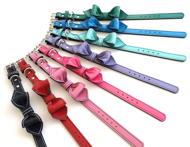 LuxeMutt Pink Martini Bowtie Leather Dog Collar