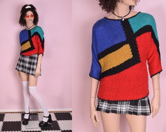 90s Color Block Sweater  Medium  1990s f7b0dd0b18722