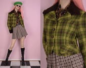 90s Green and Brown Plaid Jacket Small 1990s Faux fur Trim