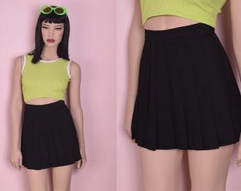 6936352469 90s Black Pleated Mini Skirt/ US 8/ 1990s