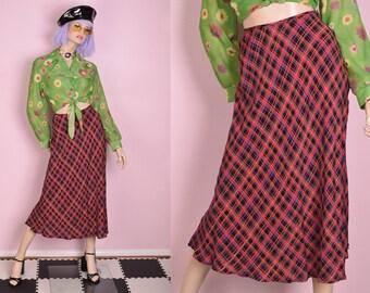 64f175eca 90s Multi Color Plaid Maxi Skirt/ US 6/ 1990s