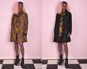 90s Leopard Print and Black Reversible Coat Medium 1990s Jacket
