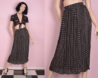 c61937654 90s Semi Sheer Printed Pleated Skirt/ Small/ 1990s/ Maxi