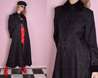 098c0b01525 80s 90s Faux Persian Lamb Trim Black Brocade Maxi Coat  US 10  1980s   1990s  Jacket  Duster