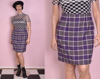 b4a185ec1c 80s Purple Plaid Skirt/ US 10/ 1980s