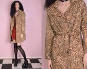 90s Animal Print Trench Coat Large 1990s Jacket