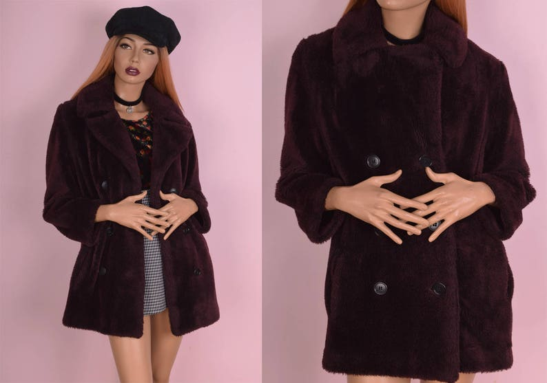 d904118f5bb 60s Burgundy Faux Fur Coat/ Small/ 1960s/ Jacket/ Double | Etsy