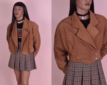 80s Brown Leather Cropped Jacket/ Large/ 1980s
