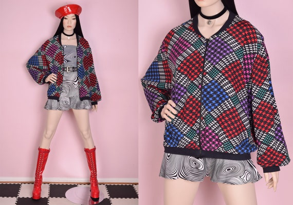 90s Houndstooth Bomber Jacket/ Large/ 1990s