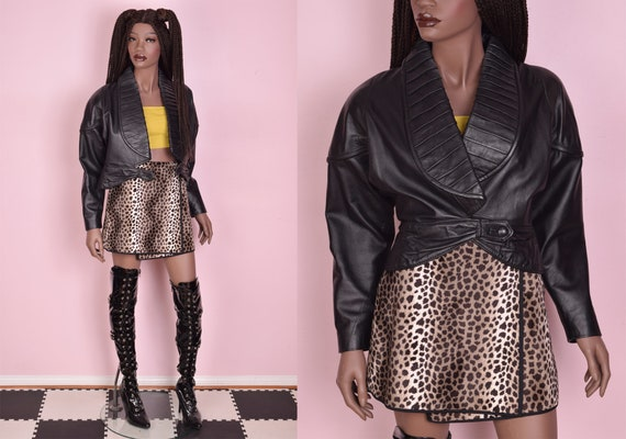 80s Black Cropped Leather Jacket/ Small/ 1980s