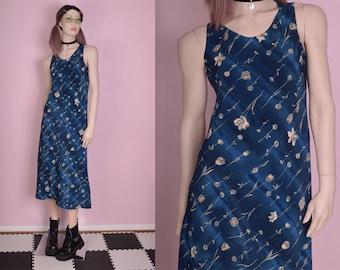 90s Floral Print Dress/ US 7-8/ 1990s/ Tank/ Sleeveless