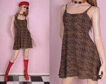 90s Animal Print Mini Dress/ Small/ 1990s/ Tank/ Sleeveless