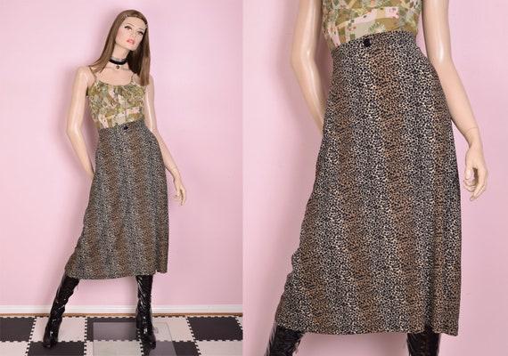 90s Animal Print Maxi Skirt/ Small/ 1990s