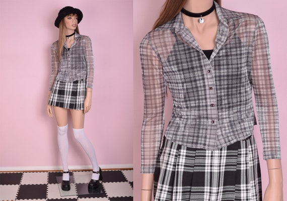 90s Iridescent Plaid Mesh Top/ Small/ 1990s/ Butto