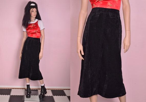 90s Crushed Velvet Maxi Skirt/ US 9/ 1990s