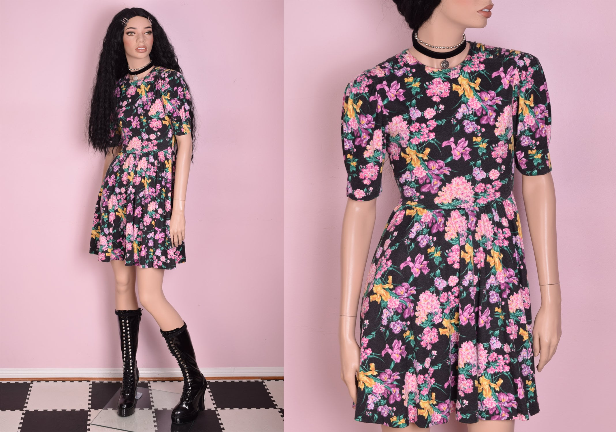 80s Dresses | Casual to Party Dresses 80S Floral Print Knit Dress Us 2 1980S $27.62 AT vintagedancer.com
