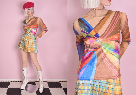 90s Mesh and Crushed Velvet Colorful Psychedelic P