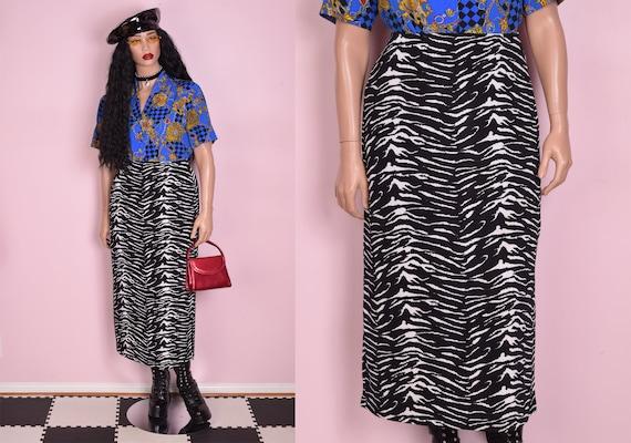 90s Black and White Animal Print Skirt/ Large/ 199