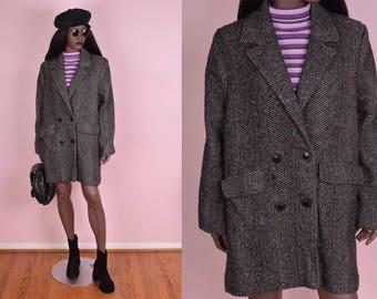 80s Colorful Specks Herringbone Double Breasted Coat/ US 10/ 1980s/ Jacket