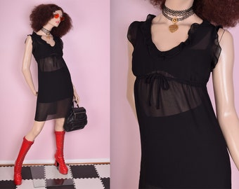 90s Black Sheer Dress/ Small/ 1990s