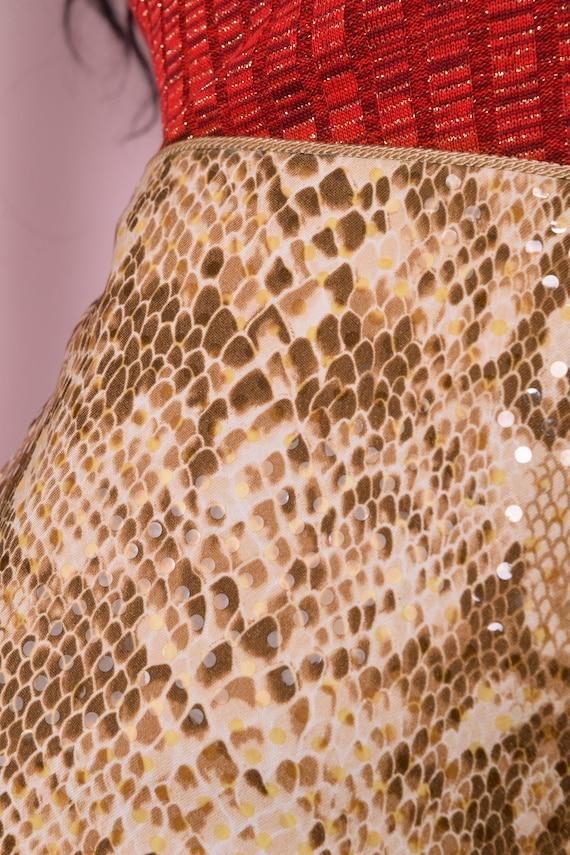 90s Faux Sequin Reptile Print Pants/ US 8/ 1990s - image 2