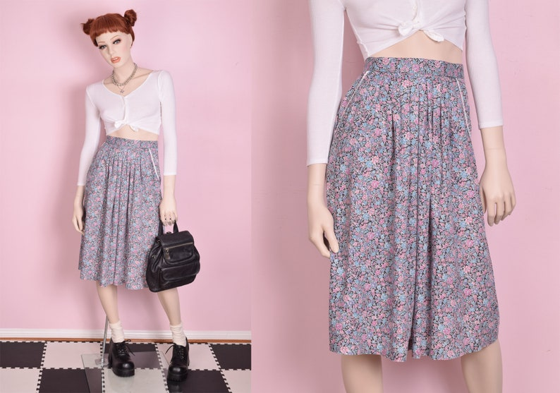 80s Floral Print High Waisted Skirt XS 1980s
