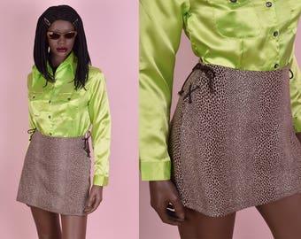 90s Animal Print Knit Mini Skirt/ US 3/ 1990s